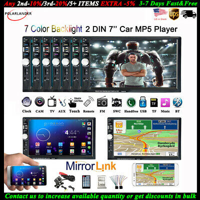 7'' 2 DIN Car MP5 Player FM Touch Screen Stereo Radio Bluetooth Head Unit 95%New