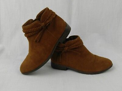 Cat & Jack Girls 3 Brown Ankle Booties Shoes Braided Strap Faux Suede #84