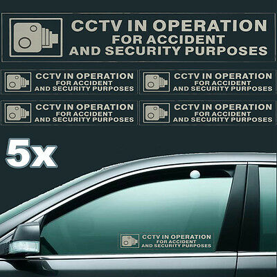 5Pcs CCTV in Operation for Accident&Security Purposes Car Window Signs
