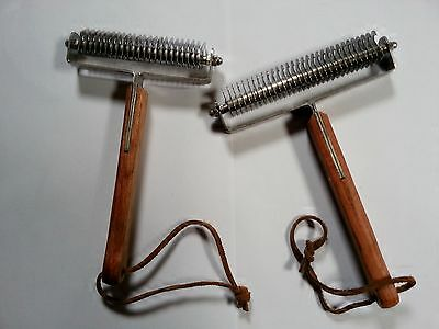 2xTail~Mane~Coat Look Smart Groomers SET OF TWO Shedding Rake Grooming Horse Dog