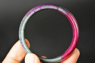 Excellent Chinese natural Peach Blossom Jade Carved 52mm bracelet bangle  H28