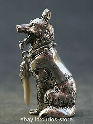 """3.1"""" Collection Chinese Miao Silver Zodiac Animal Likable Dog Wolfhound Statue狼狗"""