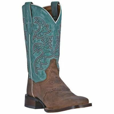 New Leather Dan Post Womens Western Cowboy Roper Boots Square Toe Brown Blue 6.5