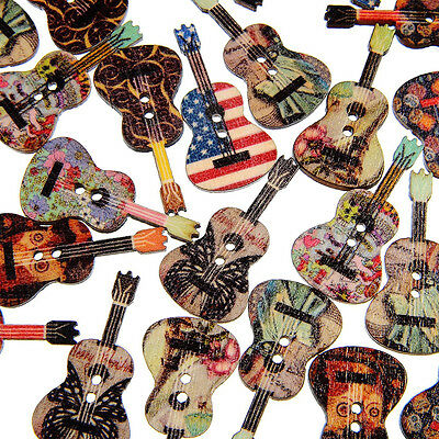HK- 50 Pcs Mixed Wood Buttons 2 Holes Flower Guitar Shape Sewing Scrapbooking Or