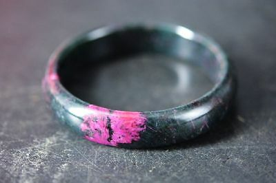 Excellent Chinese natural Peach Blossom Jade Carved 60mm bracelet bangle  H28