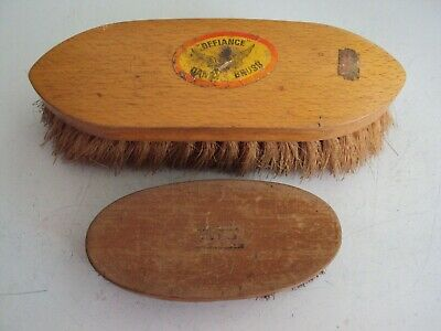 VINTAGE DEFIANCE QUALITY BRUSH AND 2nd. BRUSH USED COARSE MAYBE HORSE OR SHOE