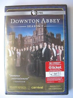 Downton Abbey: Season 3 (DVD, 2013, 3-Disc Set) New-sealed
