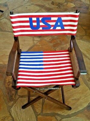 Vintage Wooden Canvas Director's Chair U.S.A Flag (Renovated)