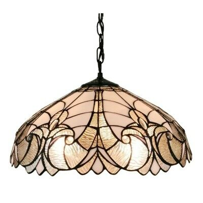 """Tiffany Style Lamp Hanging Ceiling Floral Chandelier Fixture Stained Glass 18"""" W"""