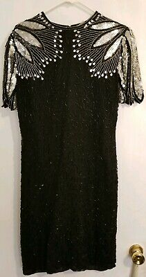 SCALA Style 80's Vintage Dress Black Silk Sequinned Beaded Cut Out Back Fringed