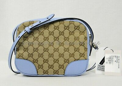 fae84397161 NWT Gucci Bree Shoulder Crossbody Bag in GG Canvas and Mineral Blue Leather  Trim