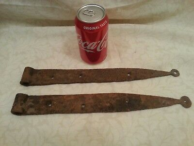 Antique Pair Iron Hinges Blacksmith Made ?