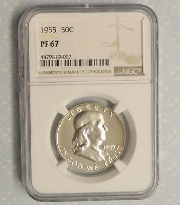 1955 NGC Proof 67 Franklin Silver Half Dollar, Gem PF67 Silver .50 Cent Coin