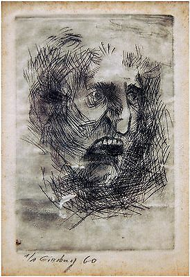 1960 HAND SIGNED Holocaust ART ETCHING Numbered 1/1 Horror JEWISH FACE Judaica