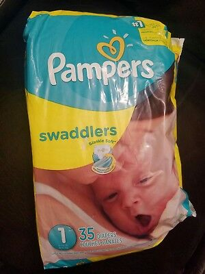 Pampers Swaddlers Baby Diapers 35 Count, Size 1(8-14Lbs)- White