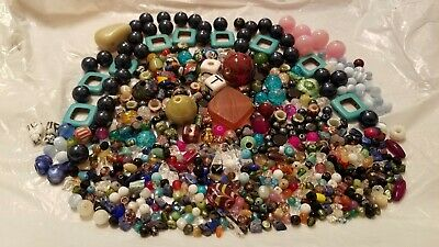 HUGE 1LB LOT OF MIXED GLASS & GEMSTONE BEADS-Multi Color