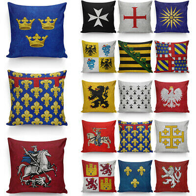 Middle Ages Coat of Arms Pillow Cover Ancient Flags Pillow Protectors 40cm&45cm