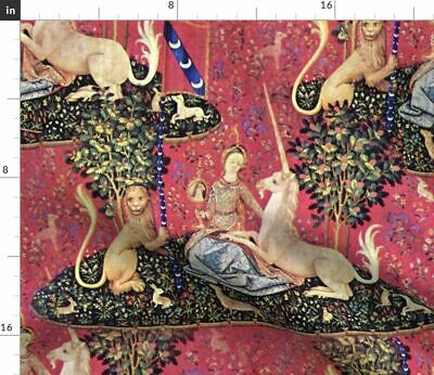 Medieval Art Antique Vintage Style Unicorn Fabric Printed by Spoonflower BTY