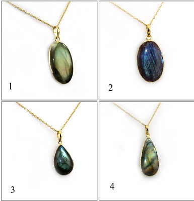 Oval & Tear Drop Labradorite Gold Electroplated Necklace Chain Pendant Jewelry