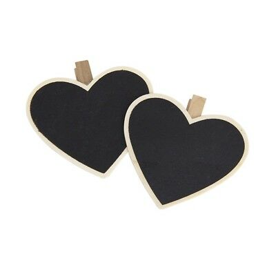1X(8xheart-shaped blackboard wooden peg Photo / notebook / paper clip T2V5)