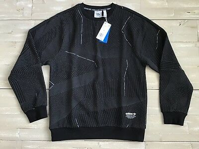 Adidas Mens Sweatshirt Black White CE1605 NMD Crew AOP Size Large Shirt Sweater