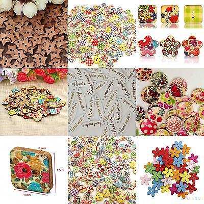 HK- 100x Star Heart Flower 2 Holes Wood Sewing Craft Scrapbooking DIY Buttons Sa