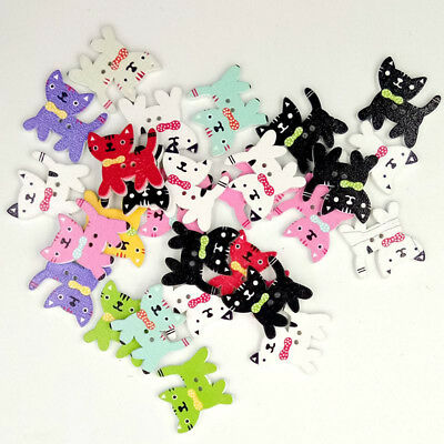 50pcs Mixed Cat Wood Sewing Buttons 2 Holes Buttons for Kids Craft 22x24mm