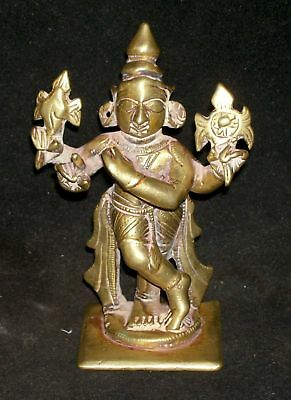 "Antique Hindu Traditional Indian Bronze Statue Of ""Krishna Venugopal Collectible"