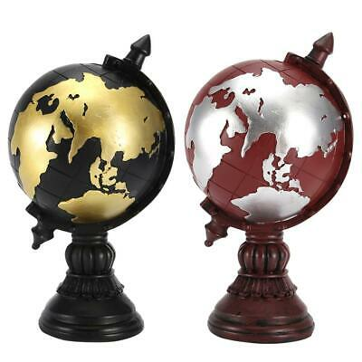 World Globe Rotating Craft Art Ornaments Study Home Office Accessories Black/Red