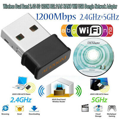 Wireless Dual Band 1200Mbps 2.4+5G 802.11AC USB Wifi Dongle Network Adapter UK