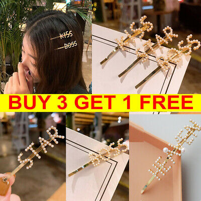 Women's Girls Pearl Letter Hair Clips Gold Hairpin Barrette Slide Grips Clamps