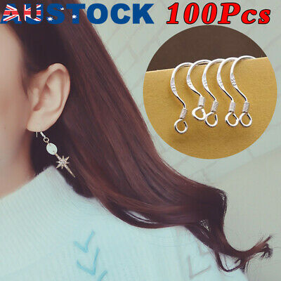 NEW 925 Sterling Silver Earring Hooks Wire 100pcs Hypoallergenic Ear Wire DIY AU