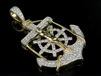 10K Solid Yellow Gold Diamond Anchor Wheel Jesus Crucifix Pendant Charm 2.00 Ct