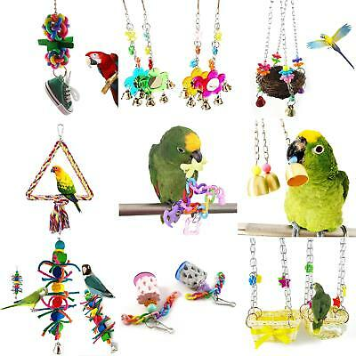 HK- Colorful Parrot Swing Bird Toy Nest Bed Rope Cage Parakeet Cockatiel Budgie