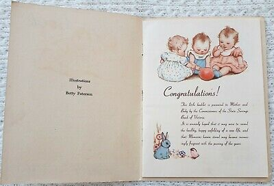 Vintage State Savings Bank Baby Book – Advertising, Collectable, Print, Coins