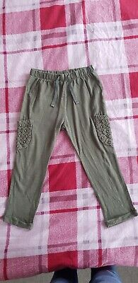 Next Girl Green Cotton Spring Trousers Size 2-3years 98cm