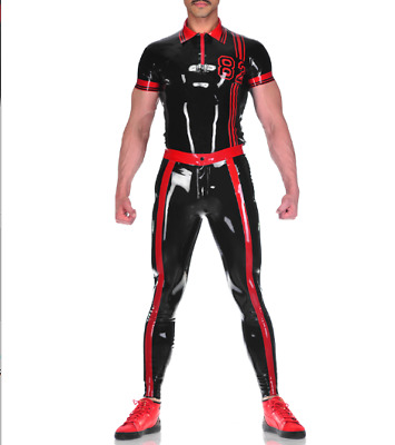 Latexanzug Zentai Kostüm Latex Gummi Schwarz/Rot Short Uniform 0.4mm Size S-XXL