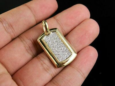 10K Solid Yellow Gold Men's Dog Tag 2.00Ct Round Cut Diamond Pave Charm Pendant