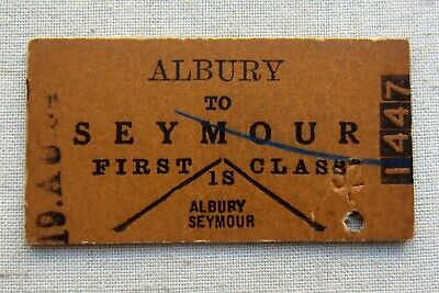 VR 1964 Used -  Albury to Seymour  - First Class Single