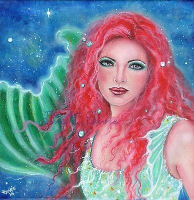 Original 12 x 12 acrylic on stretched canvas  mermaid Orebel BY RENEE L. LAVOIE