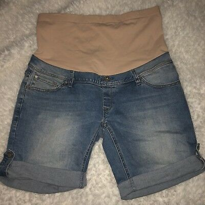 Jeanswest Maternity Shorts Sz 12 Denim Stretch High Waist EUC