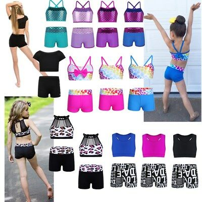 Kids Girls Two Piece Tankini Ballet Dance Outfit Swimsuit Crop Top+Shorts Set