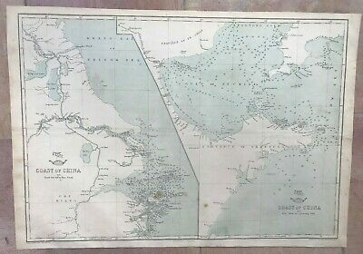 CHINA COASTS FROM NYEW-TEW ISL TO LEATONG GULF 1863 by WELLER LARGE ANTIQUE MAP
