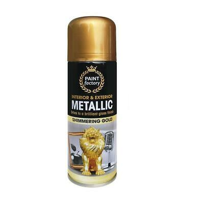 1 x Gold Metallic Spray Paint Aerosol Auto Matt Gloss Lacquer Wood Metal 200ml