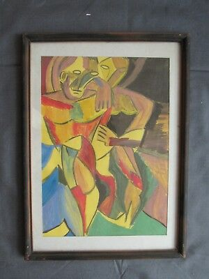 Vintage Antique Two Women Color Acrylic Painting Art Wood Glass Frame Picture