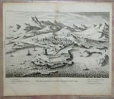 Tripoly Libya 1728 Augustin Calmet Large Antique Copper Engraved View