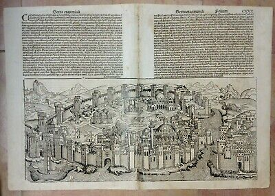 Turkey Constantinople 1493 Nuremberg Chronicle Large Antique Engraved View