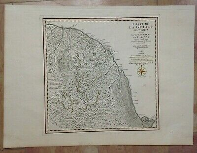 FRENCH GUIANA XVIIIe CENTURY by D'ANVILLE LARGE ANTIQUE COPPER ENGRAVED MAP