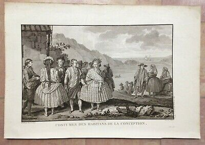 Chile Conception's Bay 1797 Voyage De La Perouse Large Antique Engraved View