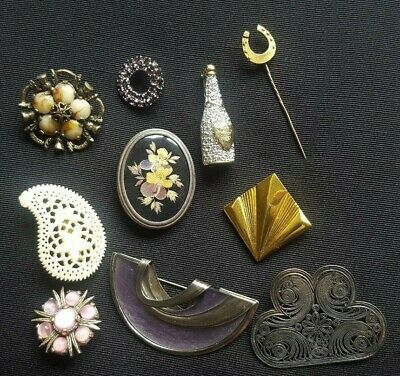 Vintage Brooch Collection Gold Silver Tone Faux Gem Mixed Lot of 10
